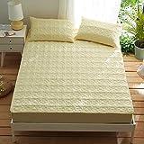 HPPSLT Matratzenschoner |Auflage zum Schutz der Matratze Verdicktes Baumwollbettlaken-Gelb_150 * 200cm