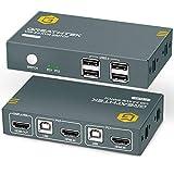 GREATHTEK KVM Switch HDMI USB 2 Port 4K, 4 USB 2.0, 4K@30 Hz, 2 PC 1 Monitor Switch, KVM USB Umschalter,Ultra HD,mit 2 USB und 2 HDMI Kabeln,Button Switch
