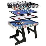 HLC 4-in-1-Spieltisch Kombt-Tisch für Poolbillard/Air Hockey/Tischtennis/Tisch-Fußball mit klappbaren Beinen, 1,2 m