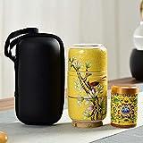 Kungfu-Tee-Set aus Keramik, tragbares Reise-Teeset, Filter-Blumen-Teekanne mit Koffer, täglicher Tee für Outdoor-Reisen