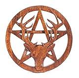 Windalf Pagan Wandbild CERNUNNOS Ø 25 cm Hirsch & Pentagramm Celtic Wandrelief Holzbild Schutzsymbol Amulett Handarbeit aus H