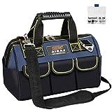 AIRAJ 15 Zoll Werkzeugtasche mit 14 Innen- und Außentaschen,Hochleistungs-Transporttasche aus 600D Polyester,verstellbarem Schultergurt,Wasserdichte Werkzeugtasche mit weitem Weithals