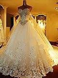 FTFTO Wohnaccessoires Kleid Brautkleid Brautjungfernkleid Deep Luo Crystal Bright Diamond Super Shiny Kleid Bodenlänge IvoryPure White US: 4 (M)