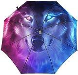 Yin Yang Fire Wolf Automatischer dreifach faltbarer Regenschirm Sonnenschirm, Sonnenschirm, innen bedruckt