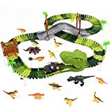 Rennbahn Autorennbahn Dinosaurier Spielzeug Dino Cars Spielzeug mit 14 Dinosaurier Kinderspielzeug Kinder Auto Dinosaurier Lernspielzeug Geschenke für Kinder Mädchen Jungen Autobahn ab 3 4 5 6 Jahre