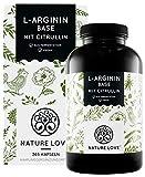 NATURE LOVE® L-Arginin Base mit Citrullin - Einführungspreis - Hochwertiges pflanzliches Arginin in BASE Form mit 99,7+% Reinheit - 365 Kapseln - Hochdosiert, vegan, in Deutschland produziert