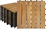 5Pcs Holzfliesen Balkon 30 x 30 cm Akazien-Holz Terrassenfliese Balkonfliesen Klickfliese Bodenbelag Drainage Garten Klick-Fliese