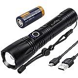 outlite 10000 Lumen Taschenlampe, LED Taschenlampe Extrem Hell 5000mAh USB Aufladbar 26650 Batterie Enthalten, 5 Lichtmodi, Zoombar, Lange Arbeitszeit Taktische Taschenlampe