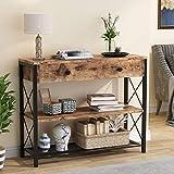 Tribesigns Konsolentisch mit Schublade und 2-stufigen Ablagefächern, industrieller Eingangstisch aus Holz und Metall, rustikaler Sofa-Beistelltisch für das Wohnzimmer im Eingangsbereich, Schlafzimmer