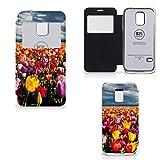 B2Ctelecom Tasche PU Leder kompatibel für Samsung Galaxy S5 Mini Handyhüllen Tulpen - Geschenkideen Für Frauen
