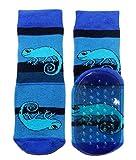 Weri Spezials Baby und Kinder Stopper Socken Baumwolle Chamäleon Muster Voll-ABS Antirutschsohle für Jungen (23-26, Kornblau)