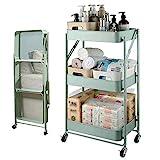 AOIWE Cart Shelf Küche 3 Tier Mobile Aufbewahrungskorb mit Verriegelungsrad Faltbar für Innen- und Außenregal Transport 45x29.5x77cm (Color : Cyan)