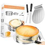 Familybox Tortenboden Schneidhilfe, Torten Set 4tlg, Ø26-28 x 8 cm Torten Zubehör aus Edelstahl Set Ring Cutter Layer Kuchen Slicer