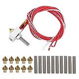 frenma 【𝐏𝐫𝐨𝐦𝐨𝐭𝐢𝐨𝐧 𝐝𝐞 𝐏â𝐪𝐮𝐞𝐬】 Aluminium-Heizblock, 0,4 mm langes Leitungsrohr mit Düse, für 3D-Druckerzubehör 1,75 mm PLA ABS 3D-Drucker