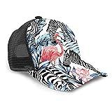 Yesliy Unisex Baseball Cap, Fashion Sonnenblende Cap Sport Outdoor Sonnenhut Größe Verstellbar Baseball Cap Exotic Pink Flamingo Zebra