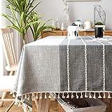 SUNBEAUTY Tischdecke Baumwolle 140x200 Leinen Abwaschbar Tischtuch Rechteckig Tisch Decke Waschbare Tafeldecke für Home Küche Speisetisch Dekoration