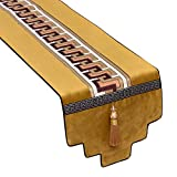 JH1 Traditioneller Quaste Tischläufer Gelb, Partyurlaubskerzentuch, Färbenbeständige Essminutisolationstischmatten, Waschbar (Size : 34×220cm/13.4×86.6in)