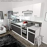 Küche 240cm von FIWODO® - ERWEITERBAR - günstig + schnell - Einbauküche Junona Line Set 240-4 Fronten wählbar (ANTHRAZIT GRAU/Weiss)