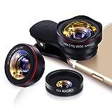 Handy Objektiv Kamera Linse Kit 3 in 1 Lens Set, 0.6X 145° Weitwinkel + 15X Makro + 0.28 X fisheye Lens, Universal Clip On for Smartphone iPhone Samsung Huawei Laptop iPad Tab