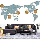 modern wanduhren Wanduhr, Wanduhr, Holz DIY 3D Weltkarte Wanduhr, Großes Wohnzimmer Büro Schlafzimmer Dekoration Wandaufkleber Uhr