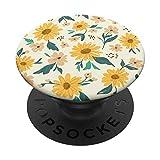 Yellow Daisy Sunflower Flower Pattern PopSockets PopGrip: Ausziehbarer Sockel und Griff für Handys/Tablets mit Tauschbarem Top