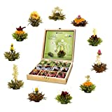 Creano Teeblumen Geschenkset in Teekiste aus Holz 12 Erblühtee in 11 Sorten weißer Tee, grüner Tee, schwarzer Tee, Teerosen