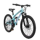 BIKESTAR Kinder Fahrrad Aluminium Fully Mountainbike 21 Gang Shimano, Scheibenbremse ab 9-14 Jahre   24 Zoll Kinderrad Vollgefedert MTB   Blau