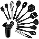 Homikit Silikon Küchenhelfer Set, 12 Stück Schwarz Kochutensilien Kochgeschirr, Hitzebeständiger Kochbesteck Set mit Utensilienhalter, Gesund & Antihaft, Spülmaschinengeeig