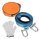 TolleTour Abschleppseil blau , KFZ Notfall-Abschleppgurt 5 cm x 5 m, 8 Tonnen verstärkte Schlaufenende für Sicherheit mit Rutsch Handschuhe und Aufbewahrungstasche (5M lang)