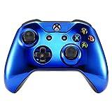 eXtremeRate Oberschale Obere Schutzhülle Case Hülle Cover Skin Schale Gehäuse Shell für Xbox One S/Xbox One X Controller Modell 1708(Chrome Blau)