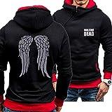 QWEIAS Herren Hoodies Sweatshirt Jacke - Walking Dead Wings Print Casual Feder Kapuze Pullover Schräghieb Zipper Pullover Langarm Mantel - Teen Geschenk C-Large