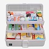 Hausapotheke Schrank, Likeluk Medizinbox Kunststoff 3 Ebene transparente Erste Hilfe Box Multifunktions Sortierkasten mit Griff, 33×18×17.5cm (Grau)