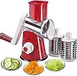 Hand-Rotationsschneider für Gemüse, Käsereibe, Zerkleinerer, Gemüse, Mandoline, Zerkleinerer, 3 Edelstahl-Reiben, Spiralschneider, BPA-frei
