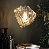 famlights Lampe Wohnzimmer Holz | Vintage Lampe transparent| Lampe Modern Decke / 1-flammig Dimmbar Fassung: E27 Hängeleuchte Kupfer | Esszimmerlampen / E27