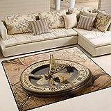Use7 Teppich, Motiv Vintage Kompass auf Weltkarte, f¨¹r Wohnzimmer, Schlafzimmer, Textil, Mehrfarbig, 203cm x 147.3cm(7 x 5 feet)