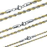 SoulCats® Rope Kette aus Edelstahl Kordelkette Zopfkette Gold Silber, Größe:5 mm;Farbe:Gold/Silber;Kettenlänge:Kette 50 cm