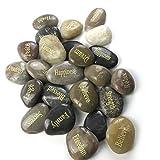 Majorhouse 24 inspirierende Steine mit Gravur, Geschenk, Heilung, Zen-Therapie, Taschen-Hoffnung, Dankeschön mit inspirierenden Gebetswörtern, Segenssteinen.