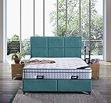 Boxspringbett Madrid mit Bettkasten Stoff Hotelbett Doppelbett Liegefläche 180x200 cm, Farbe Türkis