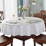 CIEEIN CIEHT PU Tischdecke Schreibtisch Tischtuch Tischwäsche Couchtisch Küchentischabdeckung Tafeltuch Wasserdicht Rund Silber Weiß 160cm