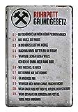Blechschild Ruhrpott Grundgesetz - Metallschild Ruhrgebiet Pott Gesetze - Retro Deko Schild Ruhrdeutsch Sprüche Dialekt - lustiges Geschenk für Ruhrgebietsbewohner Zugereiste Zugezogene - 20x30