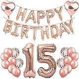 Feelairy 15. Geburtstag Dekoration Rosegold 15th Geburtstag Party Deko Set, Riesen Luftballons Zahl 15, Folienballons Happy Birthday Girlande Ballons, 15. Geburtstagsdeko für Mädchen Kinder