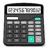 SPLAKS Taschenrechner 12-stellig Standard Function Tischrechner Bürorechner Rechenmaschine Solar- und AA Batterie Betrieb Calculator mit großem Display (Schwarz)