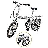 Ridgeyard 20' 6 Speed Silver Folding Foldable Adjustable City Bike Bicycles School Sports Shimano
