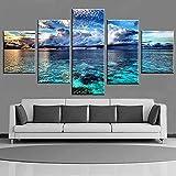 QWRTU 5 Teilig Leinwand Wanddeko Gerahmte Blauer Himmel und weiße Wolken Seascape Leinwanddrucke Geschenk 5 Stück Leinwand Bilder Moderne Wandbilder XXL Wohnzimmer Wohnkultur 150X80CM