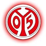 FANSAT Wandcover mit LED Beleuchtung - Fußballmannschafts Wappen für echte Fans - Fanartikel Bundesliga Sportverein Fußball Wandbild (FSV Mainz 05, 60)
