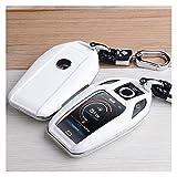 JHDS Autoschlüssel Schlüssel Hülle Schlüsselanhänger Tragbare Kfz-Key-Case-Decktasche ABS Für BMW 5 7 Serie G11 G12 G30 G31 G32 I2 I8 X3 X5 X7 X4 LED Autoschlüssel Schutzhülle (Farbe : Weiß)