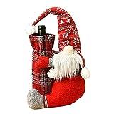 BHJ Weinflasche Cover Strick Santa Claus Flaschentaschen Pullover Weinflasche Kleid Cartoon Weinflasche Cover für Weihnachtsdekorationen Weihnachtspullover Party Dekorationen