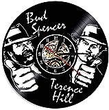 Wanduhr, Aus Vinyl Schallplattenuhr, Led Uhr Muster Mit Bud Spencer Terence Hill 3D Design Familien Deko Kunst Geschenk Vintage Vintage Wanduhr Ornamente des Wohnzimmers, 30cm/12