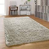 Paco Home Hochflor Teppich Wohnzimmer Shaggy Pastell Einfarbig Weich Flauschig Langflor, Grösse:120x170 cm, Farbe:Grau