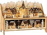 small foot 11790 Lampe Winterdorf mit Pyramide aus Holz, mit LED-Beleuchtung und Weihnachtspyramide, Weihnachtsdeko beleuchtet Deko, Mehrfarbig, normal
